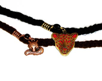Dreadlock Jewelry - Antique Gold and Copper Tiger and Fox Loc Jewels (Sold Individually W/WO Bead Design)