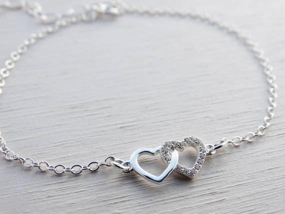Double Heart Bracelet, Cubic Zirconia & Sterling Silver