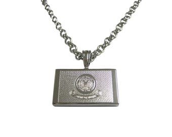 Silver Toned Etched Idaho State Flag Pendant Necklace