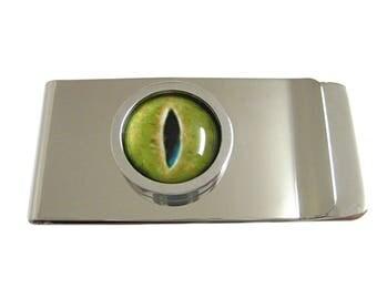 Bordered Green Reptile Eye Design Money Clip