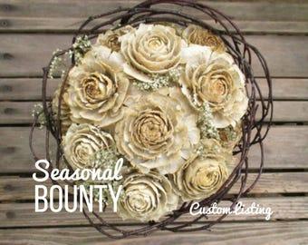 Reserved Custom Ivory & Gray Cedar Rose Love Nest Wedding Package for Beth - Final Listing