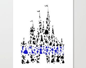 thin blue line disney castle .. jpeg and png... download