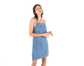 90s Stonewash Denim Minimal Simple Spaghetti Strap Midi Millennium Y2K Dress