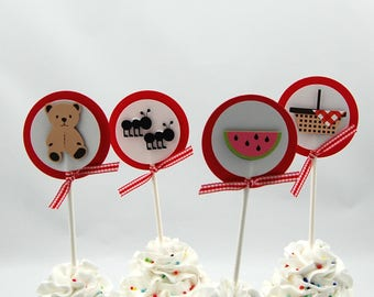 Teddy Bear Picnic Cupcake Toppers (set of 12)