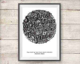 Talking Heads Print - This Must Be The Place Poster - Naive Melody Print - New Home Gift - Valentines - Anniversary - Talking Heads Poster