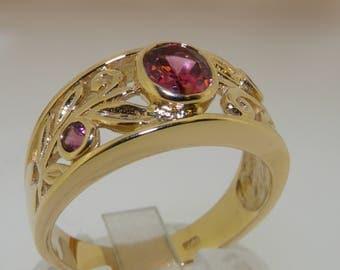 Stunning 14K Yellow Gold Natural Pink Tourmaline Trilogy Band Ring - Customizable
