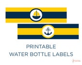 Printable Water Bottle Labels - Nautical Baby Shower - Nautical Water Bottle Labels - Yellow and Navy - Nautical Theme - Boy Baby Shower