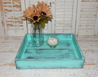 Distressed Wooden Tray Centerpiece Dining Coffee Table Tray Rustic Planter Wedding Decor Ottoman Tray