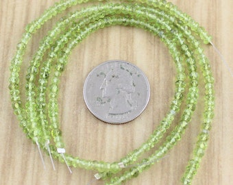 All 4 Strands of 3-4mm Peridot Rondelles - Tiny Faceted Peridot Gemstone Beads - Wholesale - Discount Destash Gems - Final Sale