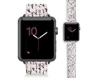 Script Text- Black and White- Bookworm- Apple Watch 42mm & 38mm bands / Apple Watch Band (42mm, 38mm) Leather Watch Band /  genuine Leather