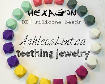 Creator's lot of 50 Hexagon Silicone Teething Beads