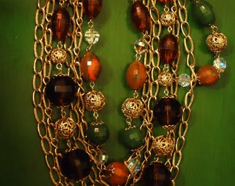 Vintage 1980s Boho Multi Strand Gold and Wine Colored Necklace