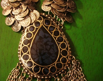 Vintage 1998 Boho Gypsy Confetti Blue and Silver Enamel Necklace