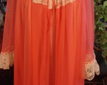 RESERVED Angie Vintage Pink Orange Lingerie Gown with Matching Robe