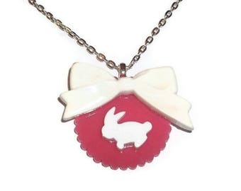 Kawaii Bunny Necklace, Pink and White Bow Cute Rabbit Necklace