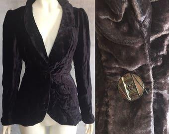 1930s aubergine velvet evening jacket / blazer