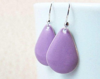 40% OFF Dangle Drop Earrings - Lavender Purple Epoxy Enamel Teardrops - Sterling Silver Plated over Brass (F-5)