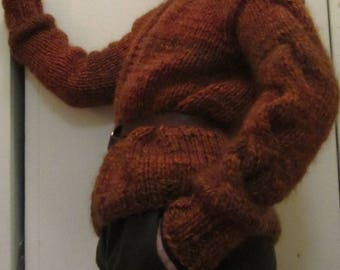Cardigan in rust color -wool blend size S/M