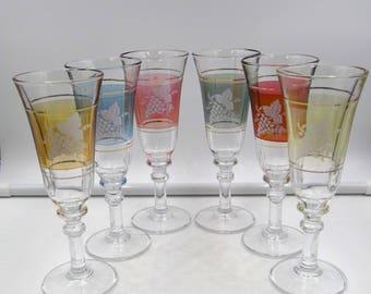 Vintage Six (6)  Bohemian Multicolored Liquer Glasses, Vintage Colored Glass Cordial Glasses, Vintage Colored Glass Cordial Glasses