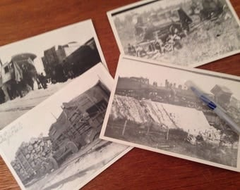 "Lot 4 Vintage 5x7"" Wisconsin TRAIN WRECK Photos WI Railroad"
