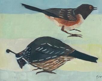 Quail and Towhee Original Oil Painting