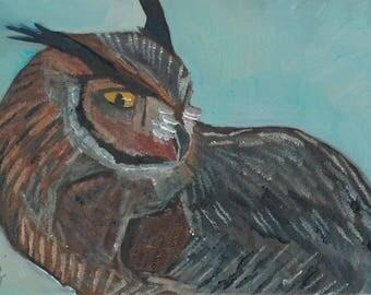 Great Horned Owl Original Oil Painting