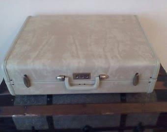 Retro 1950's Beige Marbled Samsonite Suitcase w/ Key