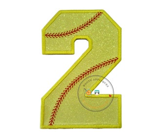 Neon yellow glitter softball iron on applique number 2, bright glitter embroidered iron on patch, number 2 yellow softball number for jersey