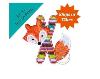 ON SALE NOW Woodland fox letter X machine embroidered iron on no sew patch, fox embroidered monogram letter x, ready to ship