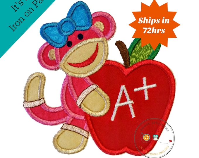 Back to school girl monkey with apple - Iron embroidered fabric applique patch embellishment-ready to ship