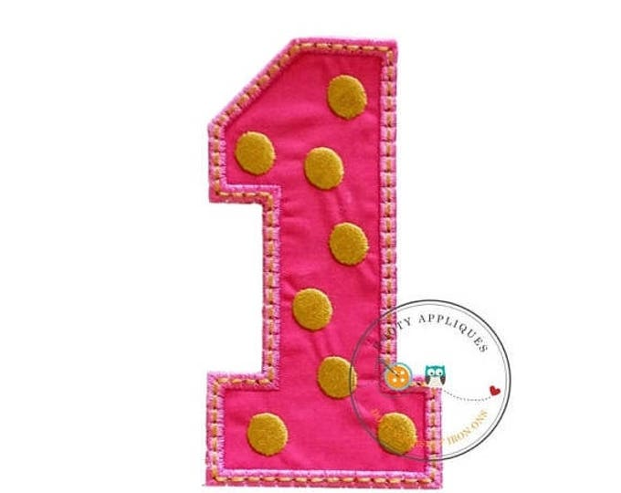 ON SALE NOW Pink block number one with embroidered gold dots, fabric iron on applique, machine embroidered iron on number 1 patch for kids,