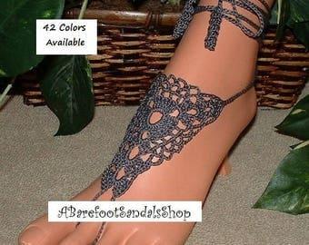 Charcoal GRAY Crochet Barefoot Sandals Shoes SIZED Yoga Leggings Hippie Bohemain Legwear Beachwear Women's Clothing Accessories Ankle Sandle