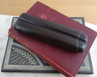 Vintage Dark Brown Leather Cigar Case,  Sliding Cigar Holder, Mid Century 2 Finger Travel Cigar Case