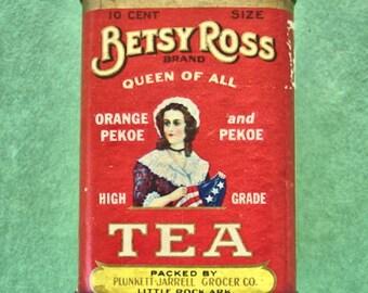 Vintage Besty Ross Queen Of All Tea Tin1940s Tea Tin Metal Bank Kitchen Tins