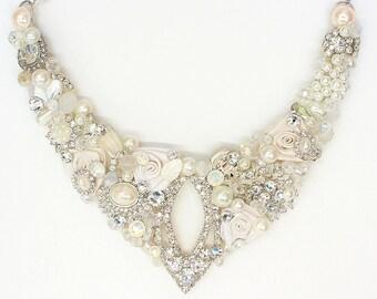 Pearl Bridal Bib- Statement Necklace- Rhinestone Bridal Bib- Pearl Wedding Necklace- Bridal Bib Necklace- Rhinestone Necklace- Brass Boheme