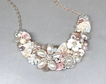 Bridal Necklace- Blush Wedding Necklace- Pearl and Rhinestone Necklace- Champagne Pink Necklace- Blush Pink Statement Necklace-Bridal Bib