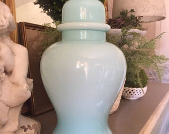 Awsome Large Vintage Glass Ginger Jar Vase Ardalt Vase Italian Glass Vase Ombre Aqua