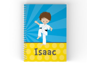 Karate Personalized Notebook - Karate Kid Boy Blue Rays Yellow Polka Dot with Name, Customized Spiral Notebook Back to School