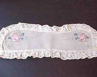 Lovely Vintage Oval Doily with Embroidered Flowers, Rose Lace and Silk Ribbon Rosette Trim