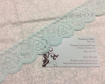 1 yard of 1 1/2 inch Mint Blue  Chantilly Lace trim for bridal, baby, wedding, couture, costume by MarlenesAttic - Item CC22