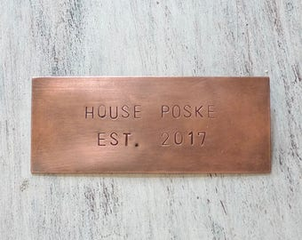 Copper Nameplate (8 x 2.5CM), Hand Stamped Mailbox Tag, Rustic Nameplate, Crib Tag, Personalized Book Plate, Engraved Nameplate