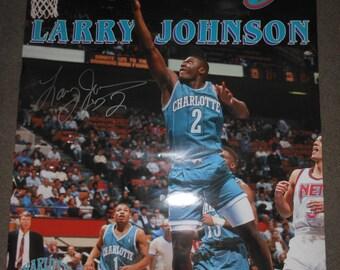 signed 1990's Larry Johnson poster - Charlotte Hornets basketball