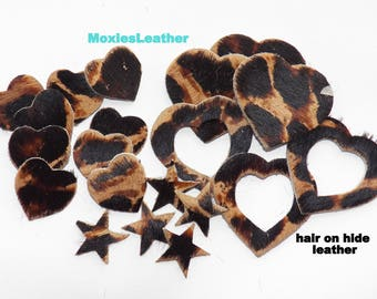 hair on hide leather pieces die cut 20 pieces hair on hide animal print lot #54