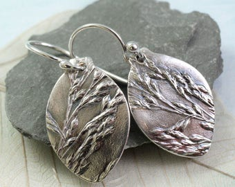 Silver Grasses Earrings in Sterling and Fine Silver - Botanical Impression of Wild Flowers