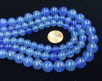 Pearl Blue Chalcedony Rounds Smooth