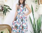 FLASHSALE Vintage Pineapple Cotton Sun Dress, 80s 90s tropical novelty print sleeveless summer dress, Small Medium 4059