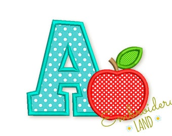 Letter A and Apple Back to School Applique Embroidery Design 3 sizes BA031