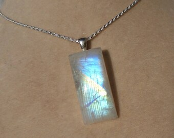 Rainbow Moonstone Pendant with Sterling Silver 1.2MM Diamond-Cut Rope Chain 16 Inches