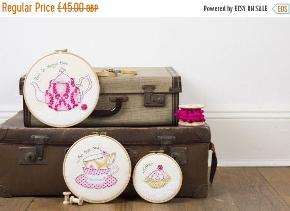 ON SALE Time for tea embroidery hoops - Set of three embroidery hoop art - Teapot art - Kitchen art - Cake art - Gift for tea drinkers - Tea