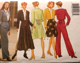 Butterick 3697 - UNCUT Vintage 90s Sewing Pattern for Business Separates - Blouse, Jacket, Skirt, Pants Pattern - Size 6, 8, 10, 12
